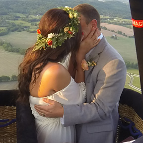 we just got married in a hot air balloon